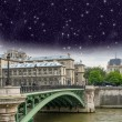 Paris, le Pont d'Arcole. Arcole Bridge at night — Stock Photo