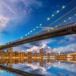 Stock Photo: Wonderful panoramic sunset with Brooklyn and ManhattBridge re