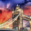 Stock Photo: London, Tower Bridge lights show at sunset