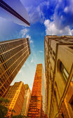 Upward view of Skyscrapers in lower Manhattan - New York City — Stock Photo