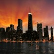Wonderful Chicago Skyscrapers Silhouette at sunset — Stock Photo #29021151