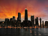 Wonderful Chicago Skyscrapers Silhouette at sunset — Stock Photo