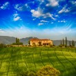 Italian landscape. Tuscany fields and meadows in spring season — Stock Photo