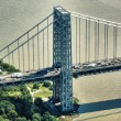 New York. Heavy traffic on the George Washington Bridge as seen from Helicopter. — Stock Photo