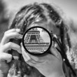 Child view of Paris, black and white picture — Stock Photo #29454311