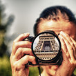 Tourist camera capturing a shot of Eiffel Tower, Paris — Stock Photo