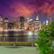 Manhattan skyline at night as seen from Brooklyn Bridge Park — Stock Photo #29704523