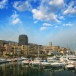 Stock Photo: Monaco Montecarlo cityscape, principality harbor view.
