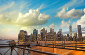 New York. Wonderful Manhattan skyline at sunset — Stock Photo