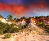 Colorado Provencal, Provence -France. Beautiful red rocks landsc — Stock Photo
