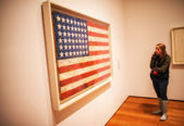 NEW YORK - JUN 10: Girl observes American flag canvas at Moma Museum — Stock Photo