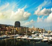 Monaco Montecarlo cityscape, principality harbor view. — Stock Photo