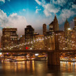 Stock Photo: Amazing night in New York City - Manhattan Skyline and Brooklyn