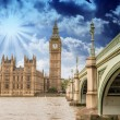 Landscape of Big Ben and Palace of Westminster with Bridge — Stock Photo