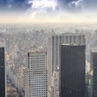 Dramatic sky over New York City - Aerial view — Stock Photo