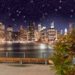Manhattan skyline at night as seen from Brooklyn Bridge Park - I — Stock Photo