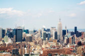 Manhattan skyline, beautiful aerial view from Helicopter — Stock Photo