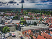 Beautiful medieval architecture and cityscape of Lubeck - German — Stock Photo