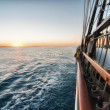 Overlooking the top deck of a sailboat — Stock Photo