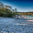 FRASER ISLAND, AUSTRALIA - JUL 11: Tourists enjoy Lake MacKenzie — Stock Photo