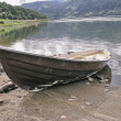 Stock Photo: Small boat on lake shore