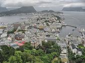 奥勒松,挪威。在夏天的季节美丽的空中城市视图. — 图库照片