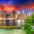 Manhattan skyline at night as seen from Brooklyn Bridge Park — Stock Photo #30170049