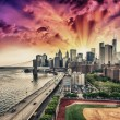 Stock Photo: New York. FDR Drive and Manhattskyline at sunset