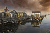 Homes over Water in Nantucket at Sunset, Massachusetts — Stock Photo