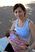 Newborn Baby Breastfeeding — Stock Photo