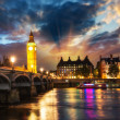 Stunning sunset view of London skyline. The Houses of Parliament. — Stock Photo #31045061