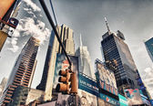 NEW YORK - MAY 20: Upward view of Times Square buildings on May — Stock Photo