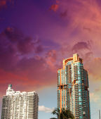 Horizonte de miami. belos edifícios perto do mar — Foto Stock
