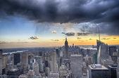 New york şehir - manhattan üzerinde günbatımı kış renkleri — Stok fotoğraf