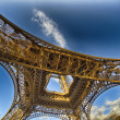 Unusual wide angle view inside the center of the Eiffel tower — Stock Photo #31354789