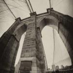 Fisheye lens photo of Brooklyn Bridge pylon in New York City — Stock Photo