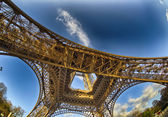 Unusual wide angle view inside the center of the Eiffel tower — Stock Photo
