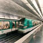 PARIS, DEC 4: Underground train inside a metro station, December — Stock Photo #31824735