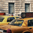 Stock Photo: NEW YORK CITY - SEP 27: Yellow cabs speed up in city streets, Se