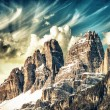 High Peaks of Dolomites. Italian Alps scenario on winter sunset — Stock Photo