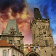 View of the Lesser Bridge Tower of Charles Bridge in Prague — Stock Photo