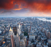 Skyscrapers in the evening from a high view point — Stock Photo