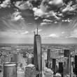 Wonderful summer sunset aerial view of lower Manhattan skyscrape — Stock Photo #31900425