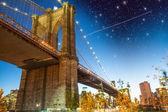Wonderful night over Brooklyn Bridge, New York City — Stock Photo