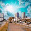 New Orleans skyline with beautiful riverwalk at sunset — Stock Photo #32167473