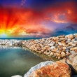 Reef and Rocks. Beautiful marine landscape at sunset — Stock Photo