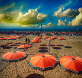 Orange beach umbrellas near the sea at sunset — Stock Photo