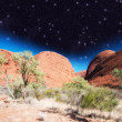 Beautiful rocks of Australian Outback against night sky — Stock Photo