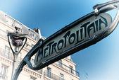 Famous historic Art Nouveau entrance sign for the Metropolitain — Stock Photo