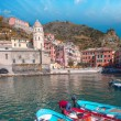 Colorful boats in the quaint port of Vernazza — Stock Photo